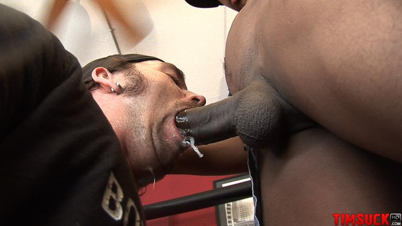 """Treasure Island Media TimSuck Trevor and Javin Big Black Cock Sucking Amateur Gay Porn 06 White Guy Worshipping A 13"""" Black Cock Until It Shoots In His Mouth"""