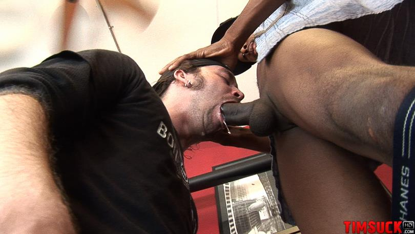 """Treasure Island Media TimSuck Trevor and Javin Big Black Cock Sucking Amateur Gay Porn 07 White Guy Worshipping A 13"""" Black Cock Until It Shoots In His Mouth"""