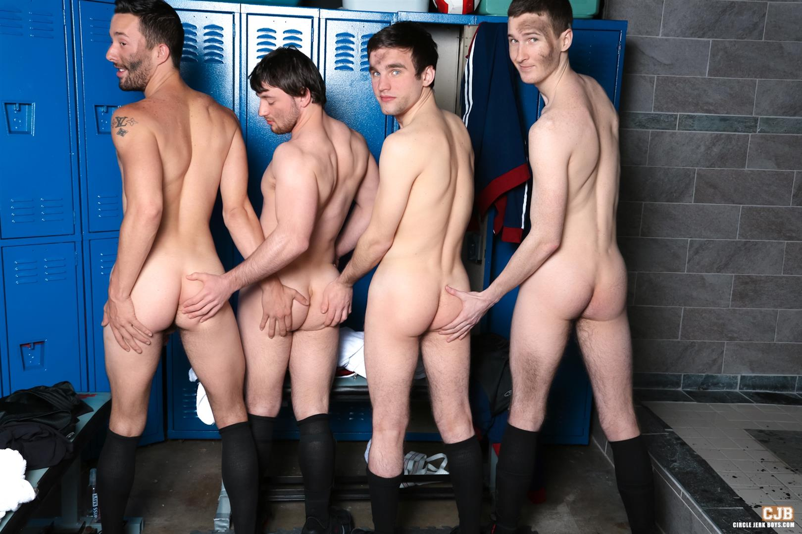 Circle-Jerk-Boys-Andrew-Collins-and-Isaac-Hardy-and-Josh-Pierce-and-Scott-Harbor-Soccer-Guys-Sucking-Cock-Amateur-Gay-Porn-12 After the Game, Soccer Plays Sucking Cock In The Locker Room