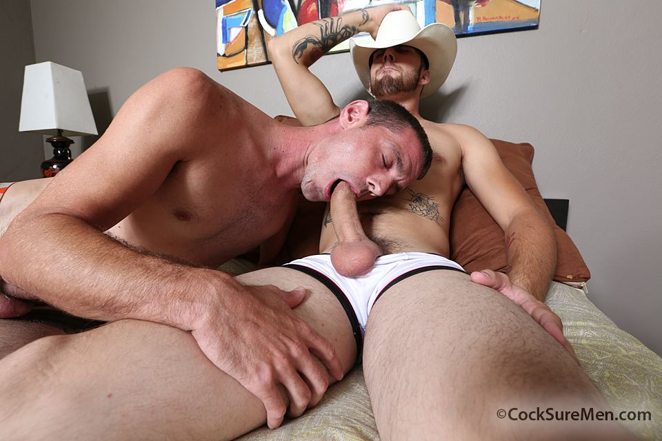 "Cocksure-Men-Brett-Bradley-and-Dustin-Steele-Cowboy-gets-fucked-bareback-in-the-ass-Amateur-Gay-Porn-02 Brett Bradley Breeding A Cowboy With His 10"" Thick Cock"