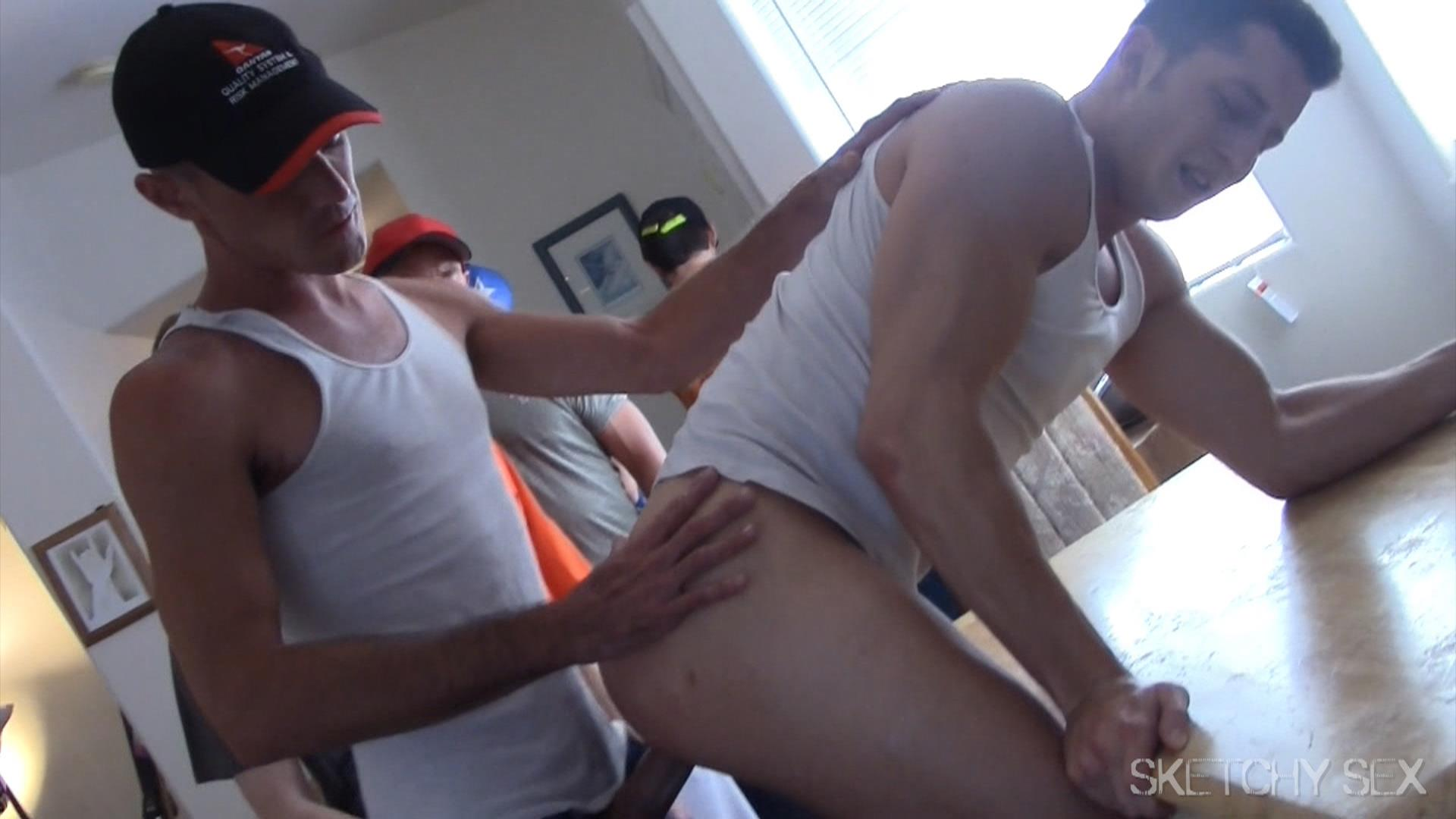Sketchy Sex Bareback Breeding A College Guy Amateur Gay Porn 12 Guys Lining Up At The Door Take Turns Breeding A Horny College Guy