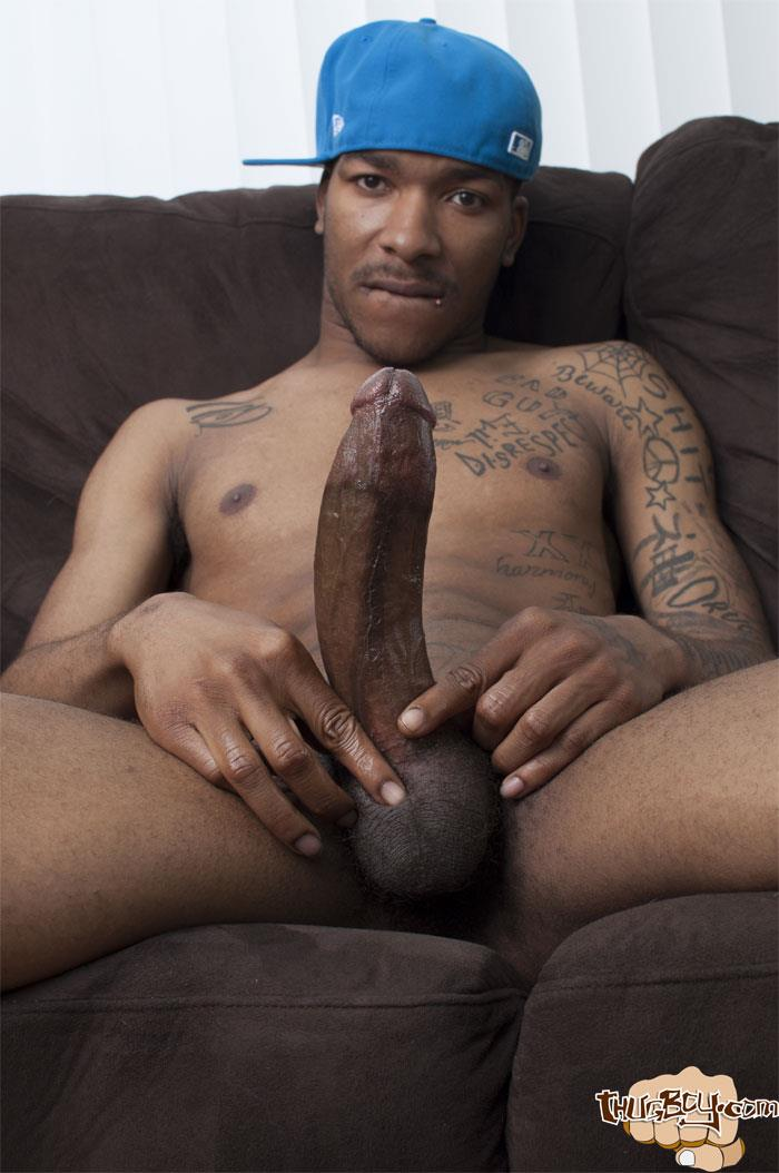 Thug-Boys-Black-Noir-Big-Black-Cock-Jerk-Off-Video-Amateur-Gay-Porn-35 Straight LA Thug Black Noir Jerking His Big Black Cock