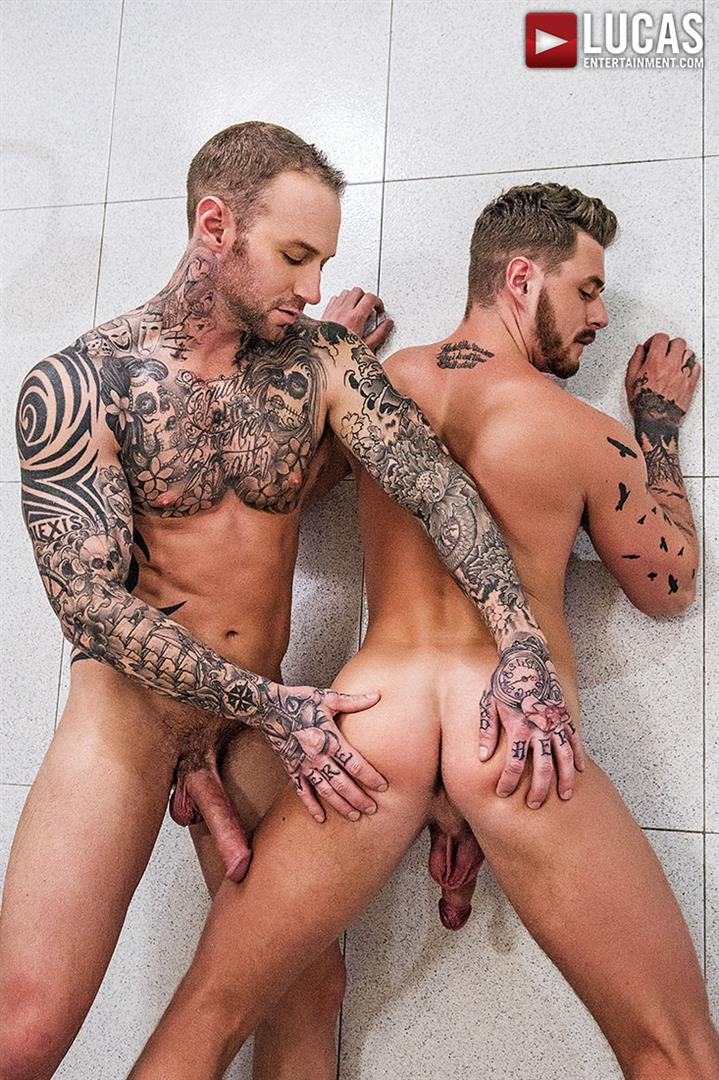 Lucas-Entertainment-Josh-Rider-and-Dylan-Naked-Tatted-Bareback-James-Amateur-Gay-Porn-23 Dylan James Barebacking Josh Rider In The Gym Shower